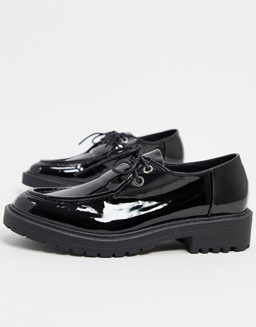 RAID KENLEY LACE UP FLAT SHOES IN BLACK