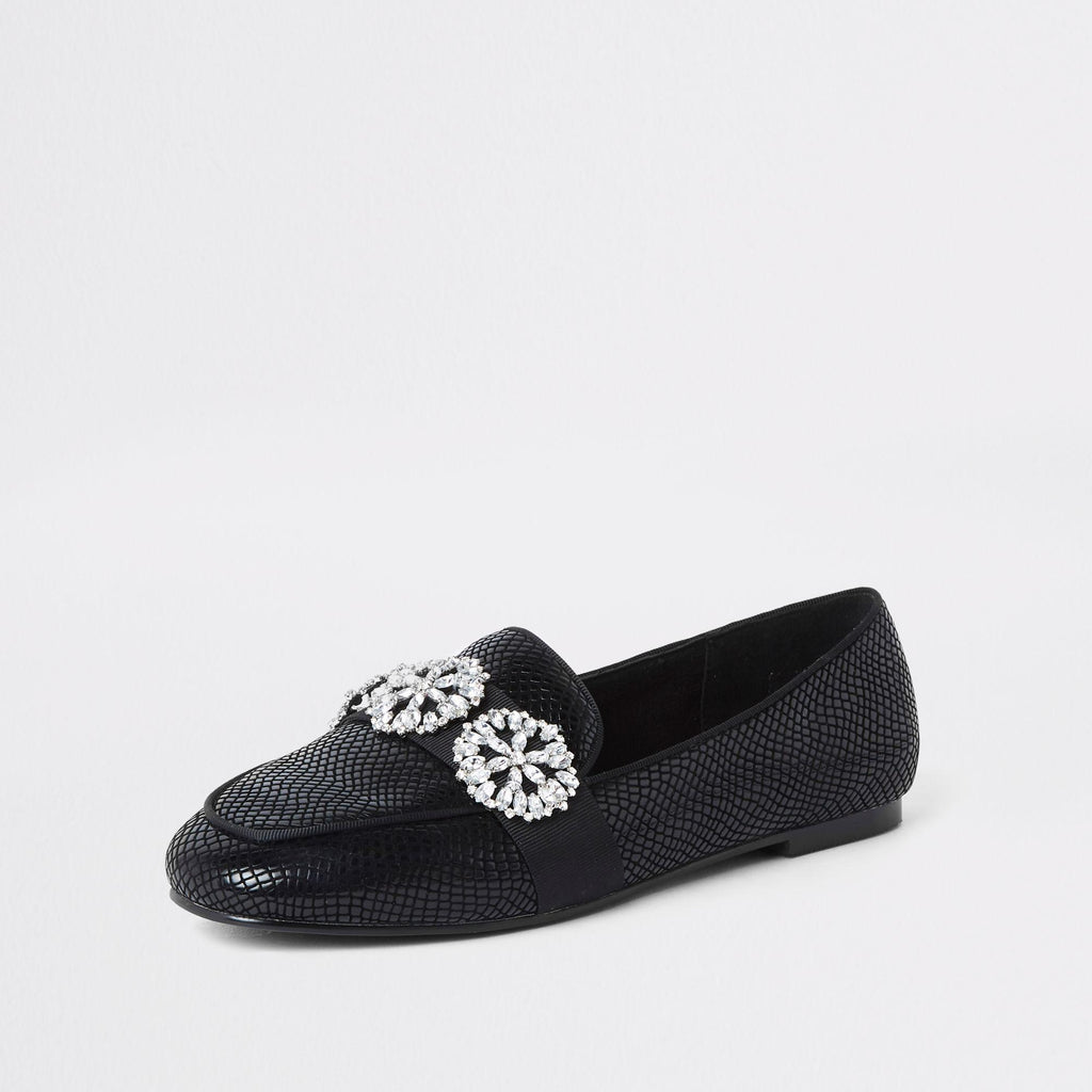 RIVER ISLAND BLACK JEWEL TRIM LOAFERS