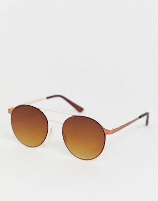 RIVER ISLAND ROUND SUNGLASSES WITH BROW BAR IN FADED GOLD