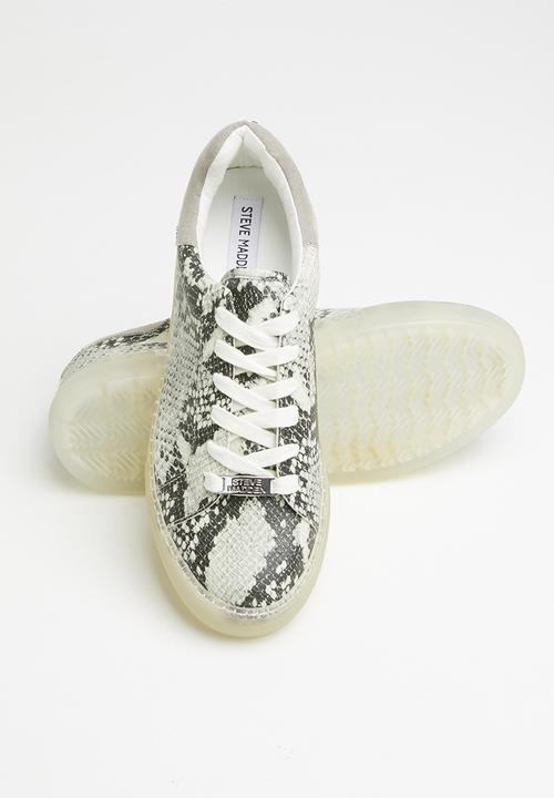 STEVE MADDEN SNAKEPRINT TRANSPARENT SOLE SNEAKERS