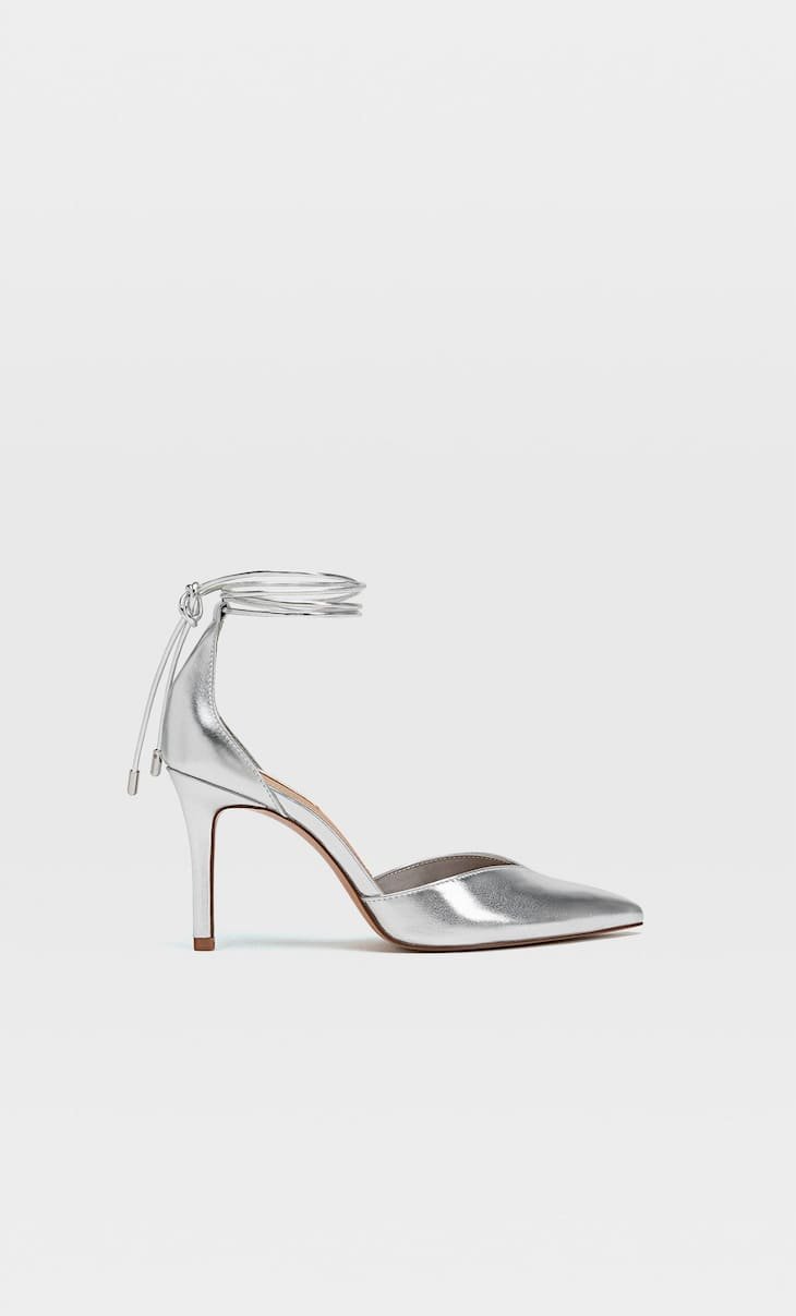STRADIVARIUS ANKLE STRAP POINTED TOE LACE-UP PUMP IN SILVER