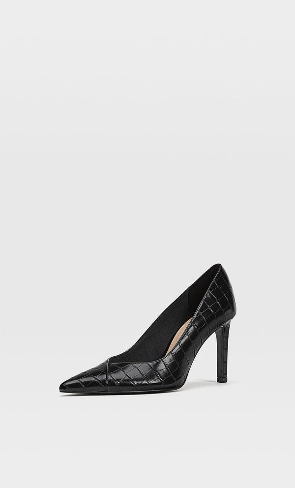 STRADIVARIUS BLACK EMBOSSED HIGH-HEEL SHOES