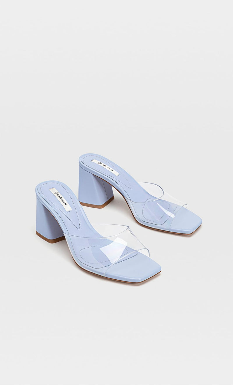 STRADIVARIUS BLUE VINYL HIGH-HEEL SANDALS