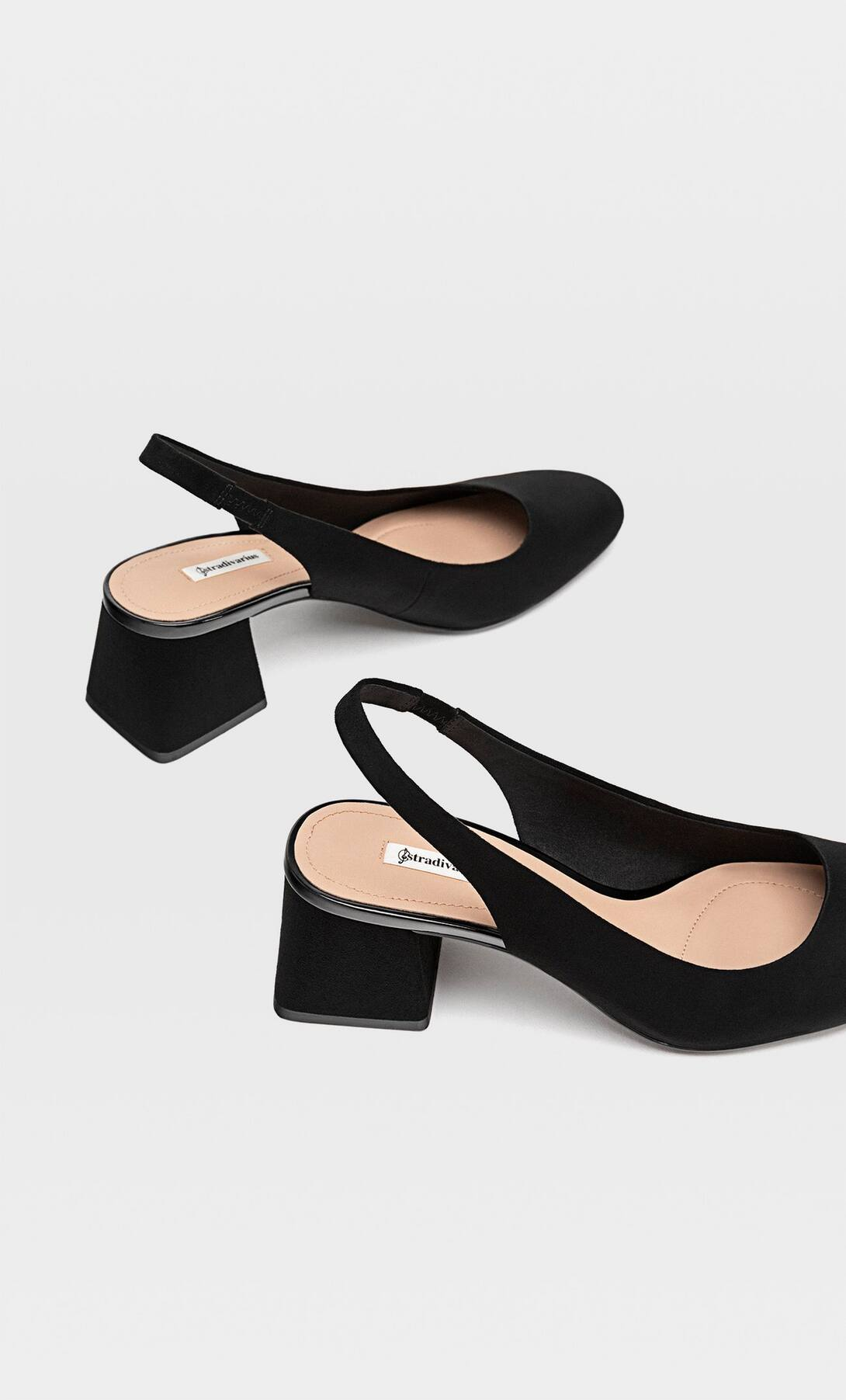 STRADIVARIUS HEELED SLINGBACK SHOES WITH SQUARE TOES
