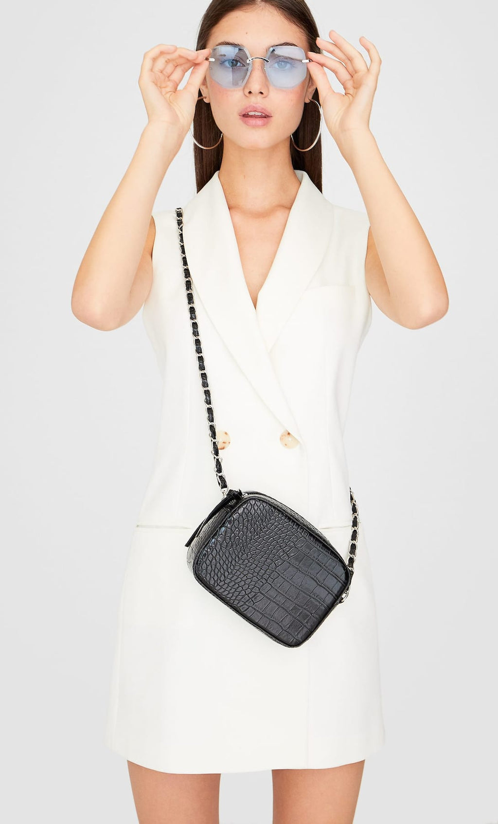 STRADIVARIUS MOCK CROC CROSSBODY BAG IN BLACK
