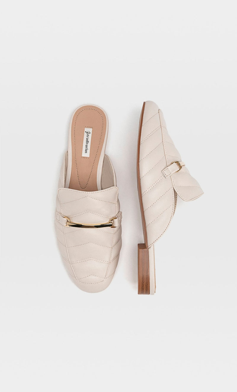 STRADIVARIUS ECRU QUILED MULE LOAFERS WITH BUCKLE