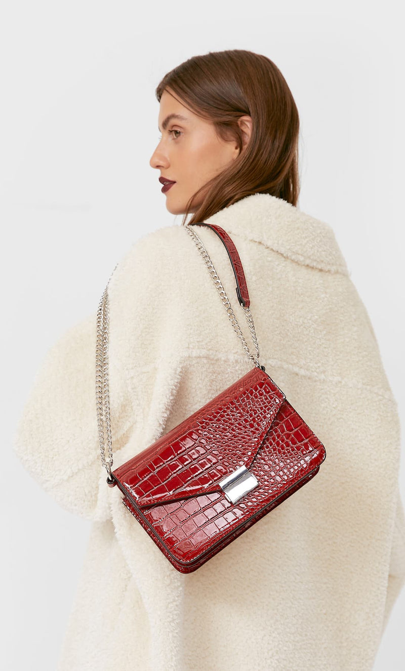 STRADIVARIUS RED FAUX-PATENT-FINISH MOCK CROC CROSSBODY BAG