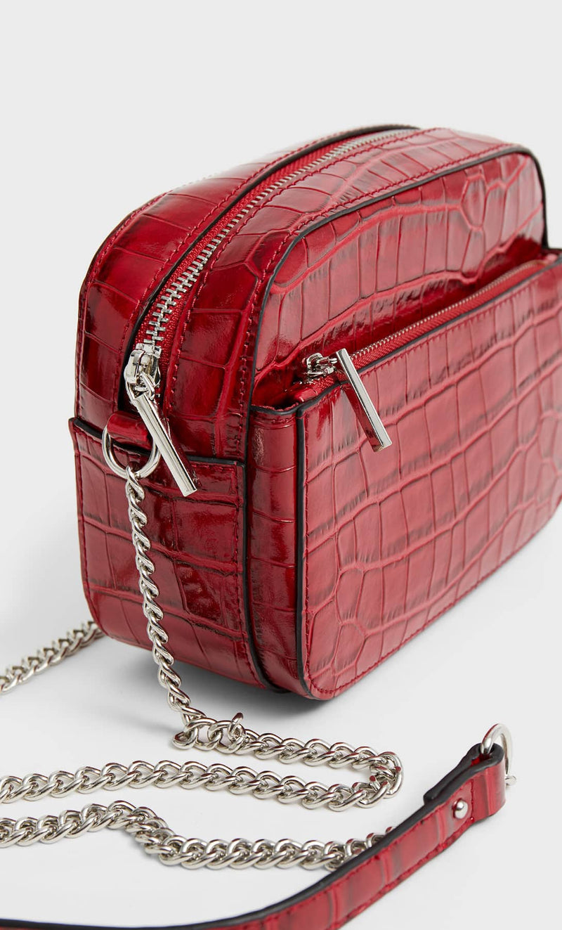 STRADIVARIUS RED MOCK CROC CROSSBODY BAG