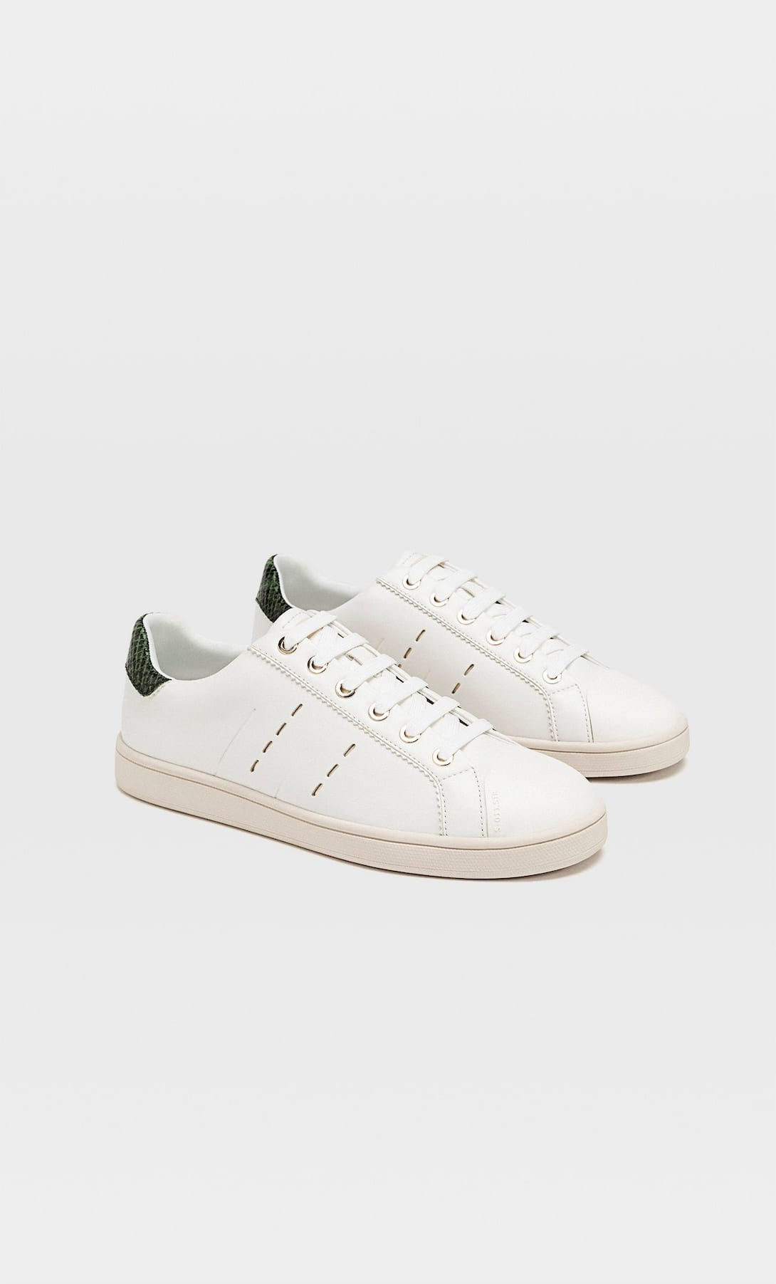 STRADIVARIUS TRAINERS WITH HEEL CAP DETAIL IN WHITE