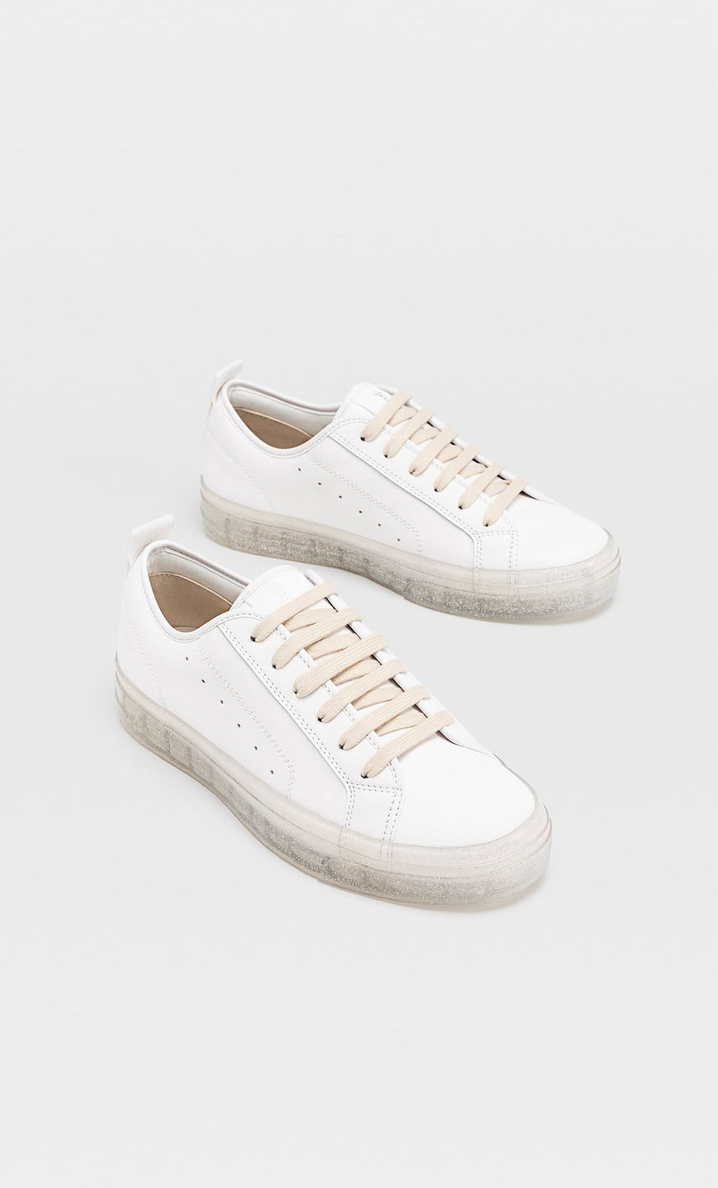 STRADIVARIUS TRAINERS WITH TRANSLUCENT SOLES AND GLITTER DETAIL