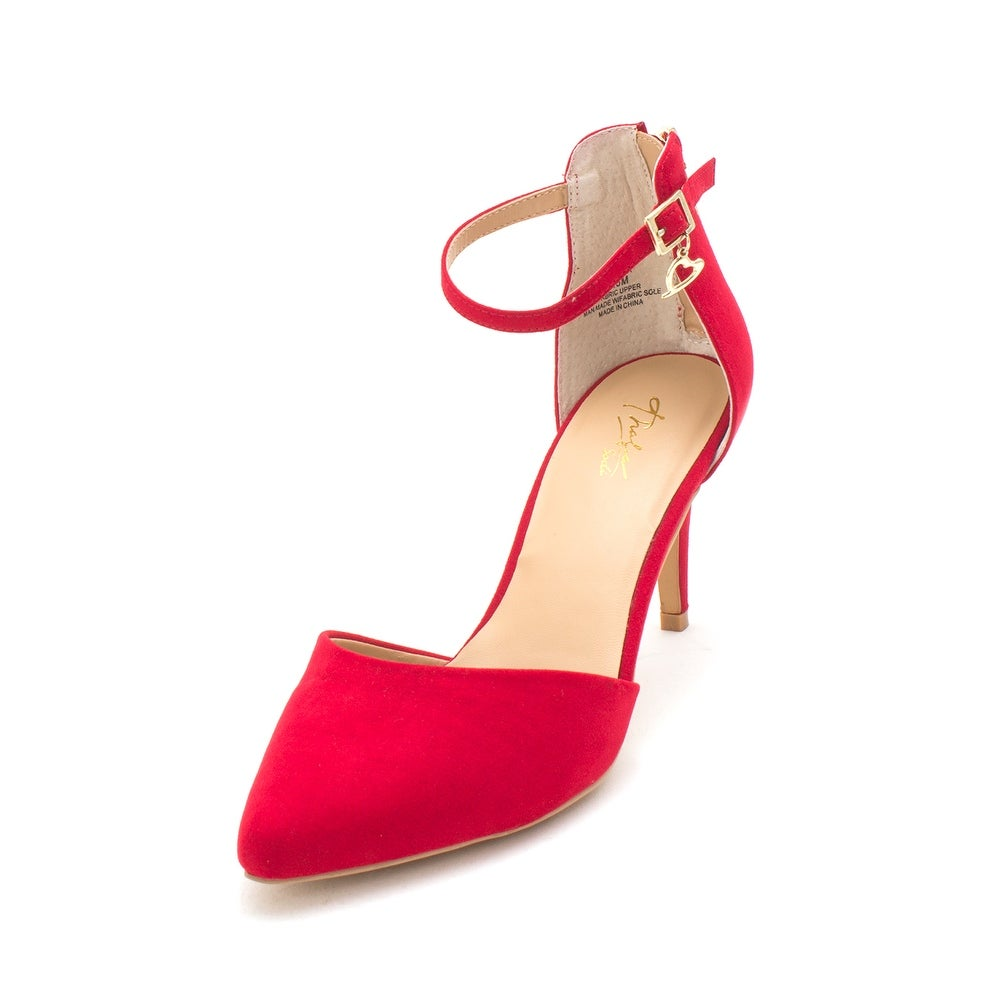 THALIA SODI RED ANKLE STRAP POINTED TOE PUMP 41