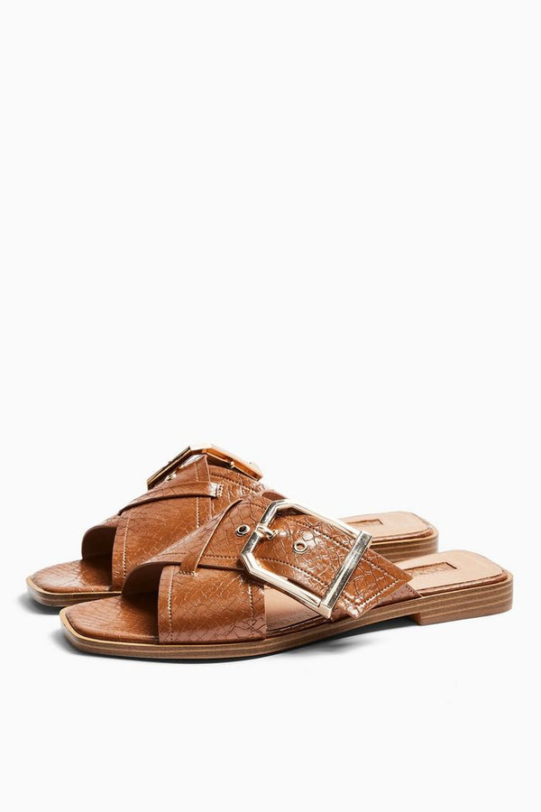 TOPSHOP PORTO TAN BUCKLE SANDALS