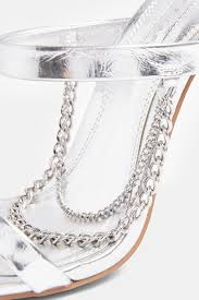 TOPSHOP SYDNI SILVER CHAIN MULES