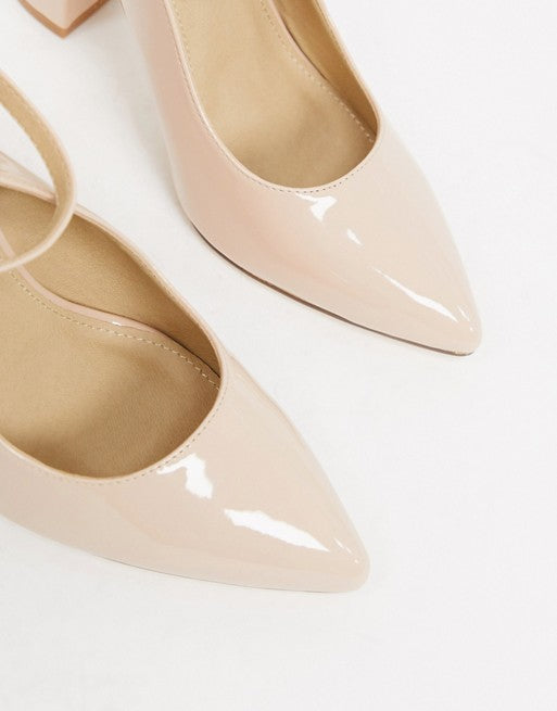 TRUFFLE COLLECTION POINTED BLOCK HEELED SHOES IN BIEGE 41