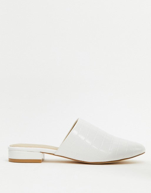 TRUFFLE COLLECTION WHITE CROC FLAT MULES