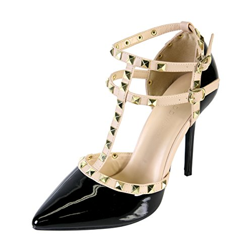 WILD DIVA STRAPPY STUDDED PATENT PUMPS