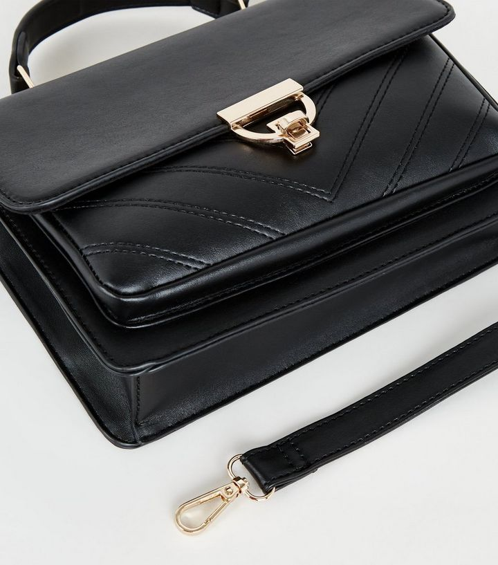 NEW LOOK BLACK LEATHER-LOOK QUILTED CROSS BODY BAG