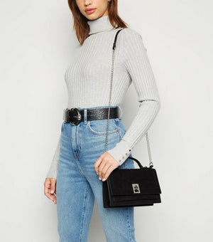 NEW LOOK BLACK SUEDETTE HANDLE CHAIN SHOULDER BAG