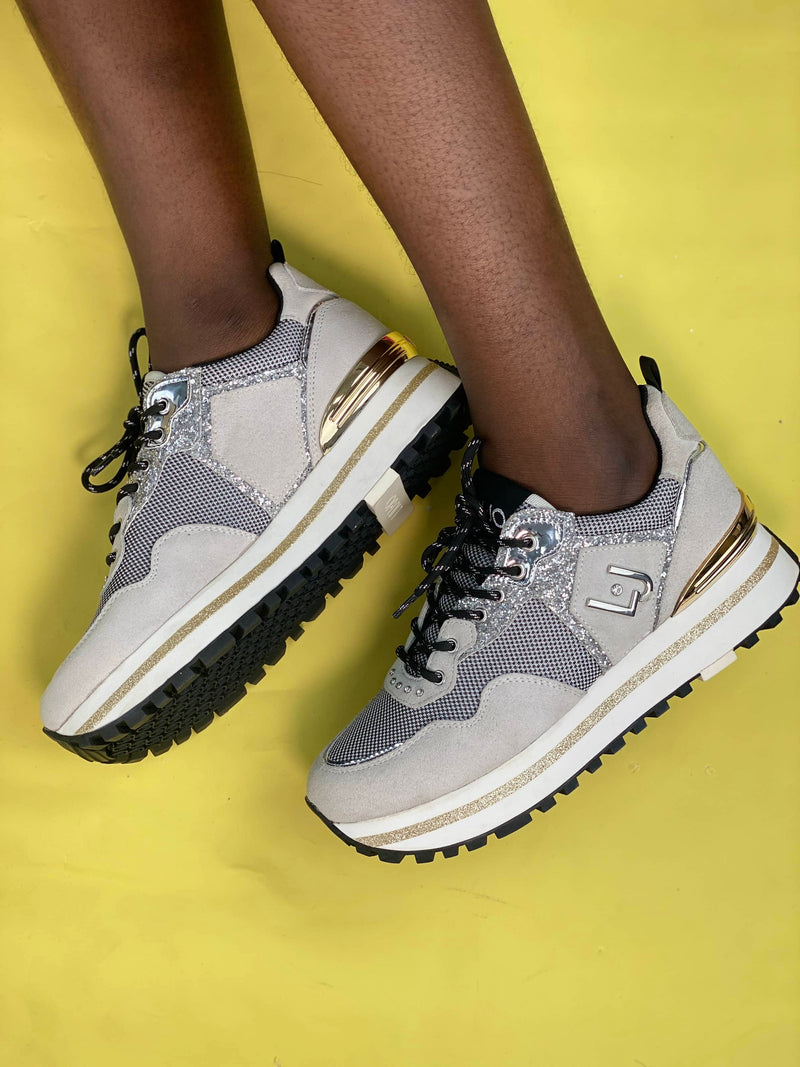 LUIJO GREY SHIMMER DETAIL SNEAKERS