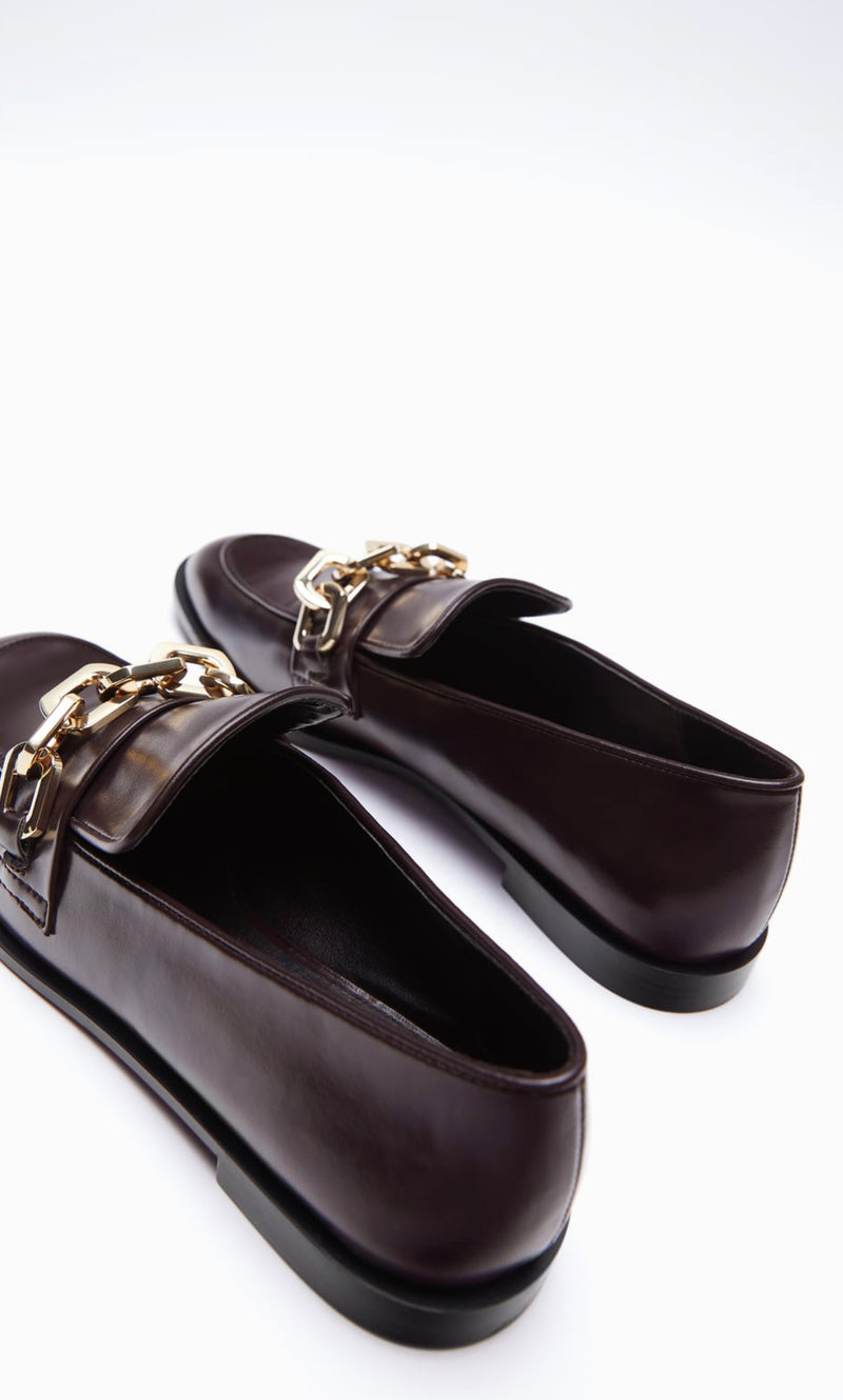 ZARA BURGUNDY RED FLAT LOAFERS WITH CHAIN DETAIL