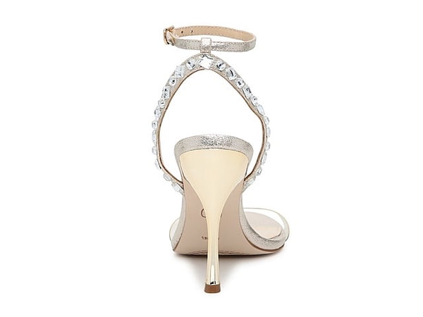 JESSICA SIMPSON GOLD ANKLE STRAP VINYL EMBELLISHED SANDALS