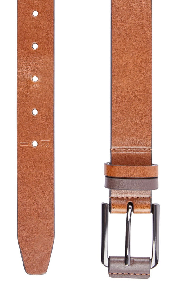 BURTON BROWN TWO-TONE DETAIL BELT