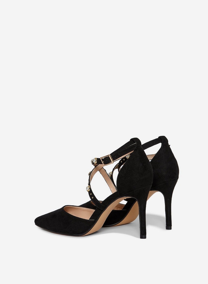 DOROTHY PERKINS BLACK DRAPE STRAPPY COURT SHOES