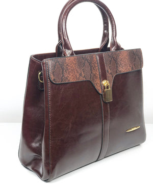 DON JONES ESPRESSO PADLOCK DETAIL SNAKEPRINT STRUCTURED BAG
