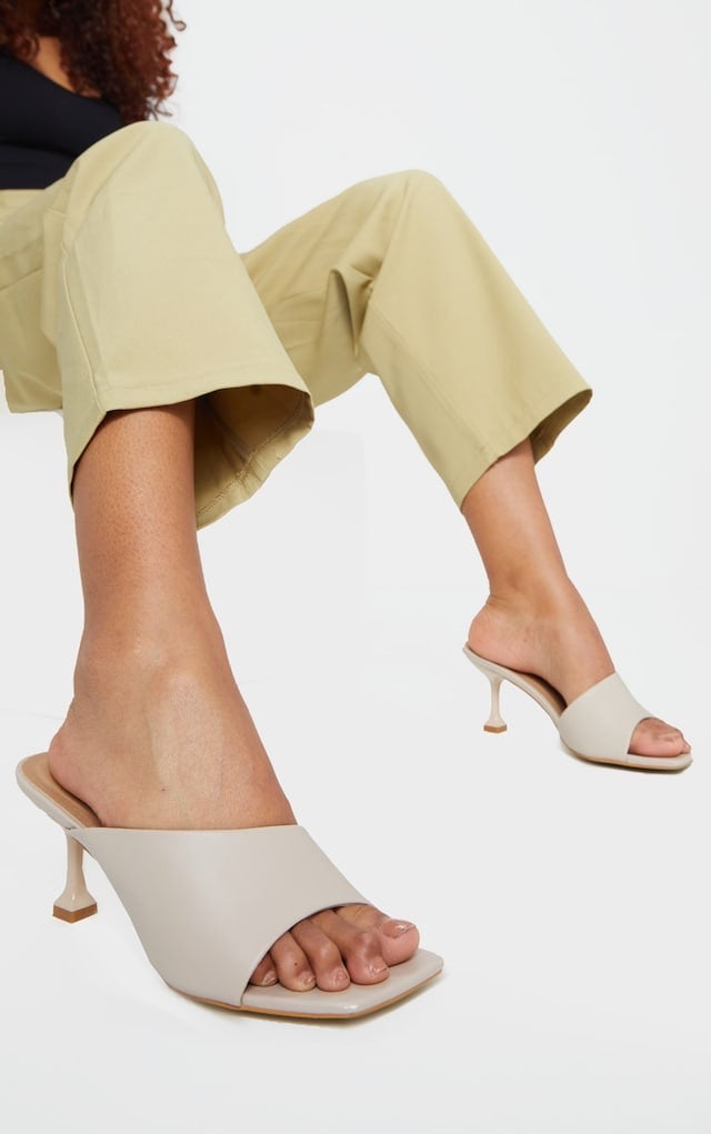 PRETTY LITTLE THING BEIGE ASYMMETRIC LOW HEEL MULES
