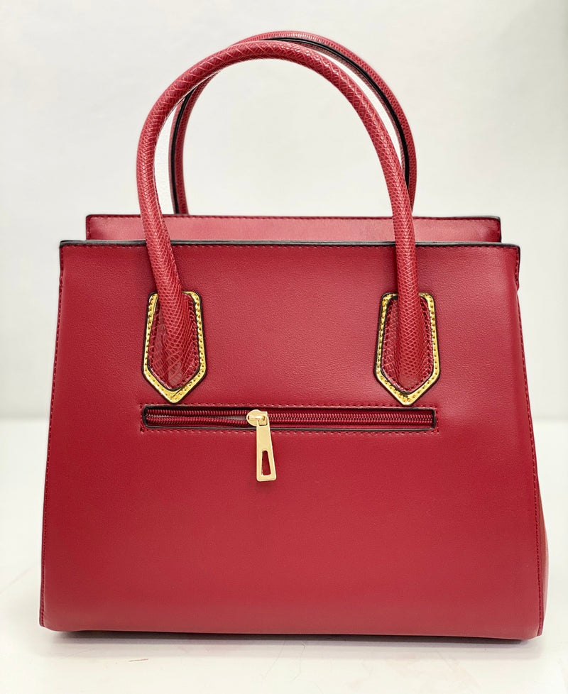 SUSEN RED STRUCTURED BAG WITH GOLD TRIMS