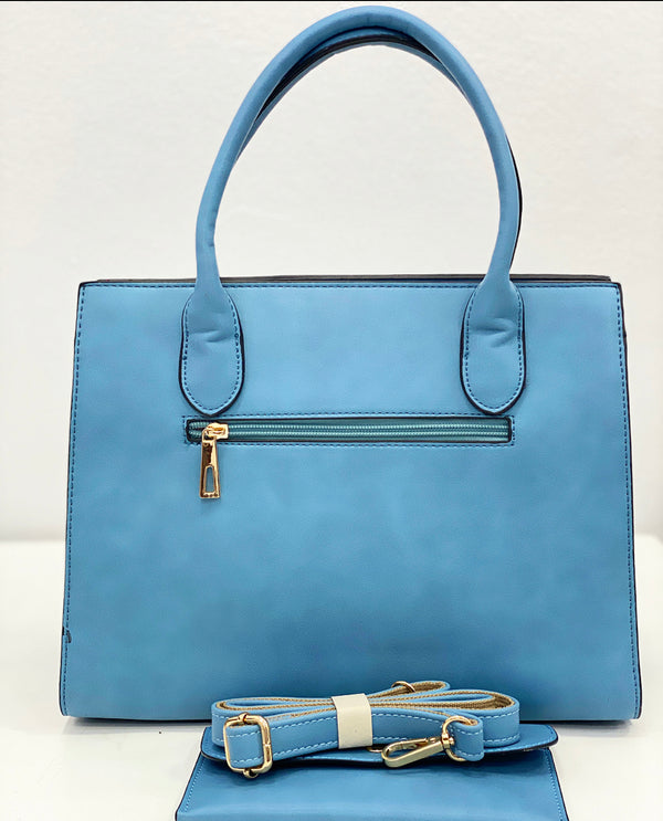 TEDA FLAP BLUE DETAIL STRUCTURED BAG