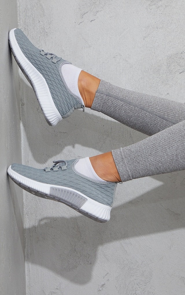 TRUFFLE COLLECTION GREY KNITTED LACE UP SPORTS TRAINERS