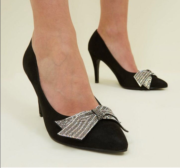 NEW LOOK BLACK BOW DETAIL PUMPS