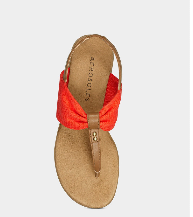 AEROSOLES ORANGE FABRIC DETAIL TOE SANDALS