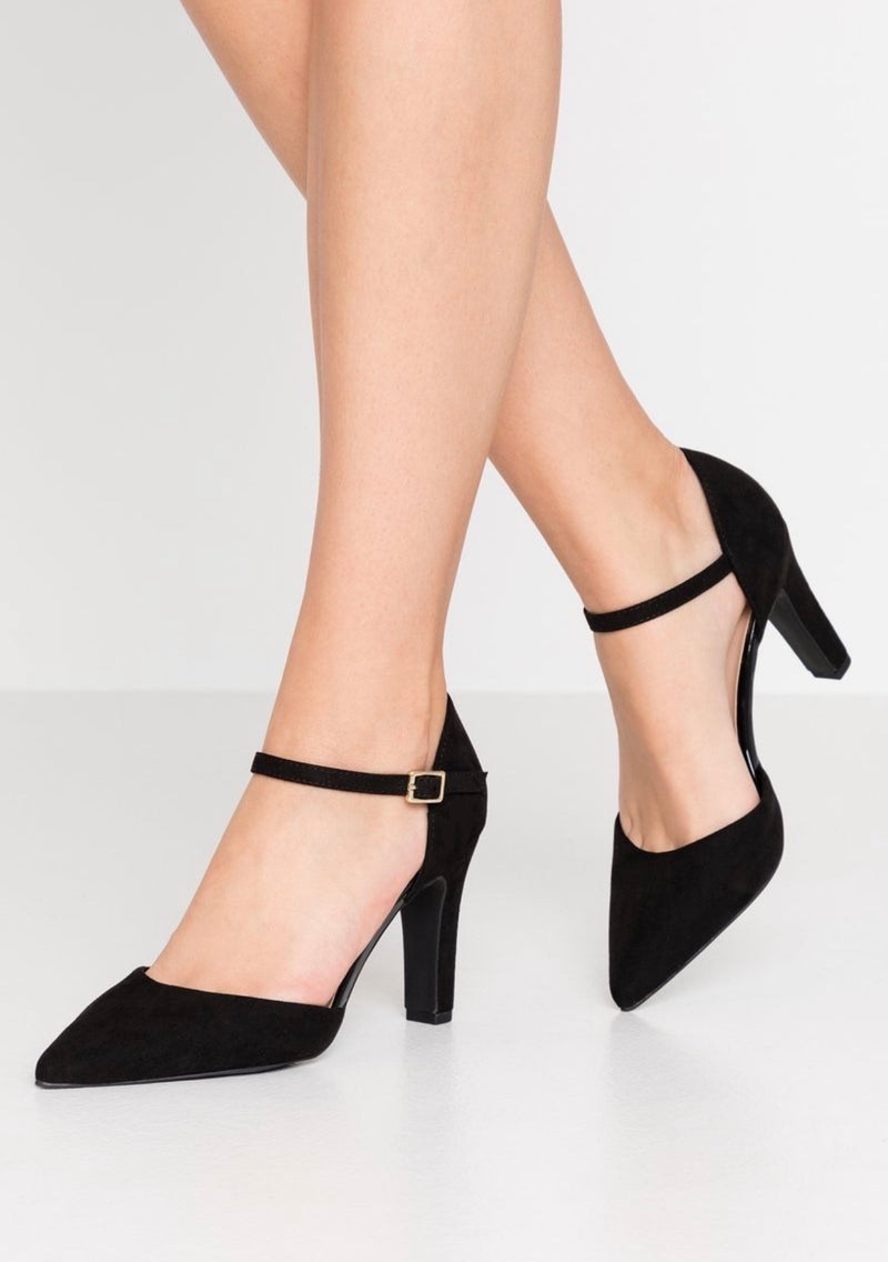 NEW LOOK BLACK ANKLE STRAP BLOCK HEELS