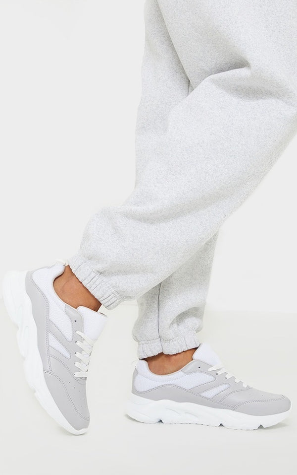 PRETTY LITTLE THING GREY PU SCALE DETAIL AIR HOLE CHUNKY TRAINERS