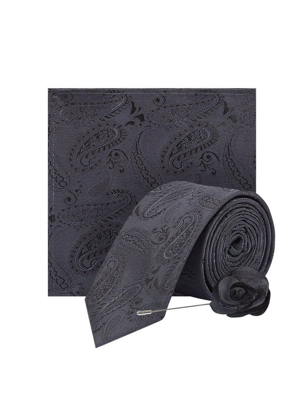 BURTON GREY PAISLEY TIE WITH MATCHING POCKET SQUARE