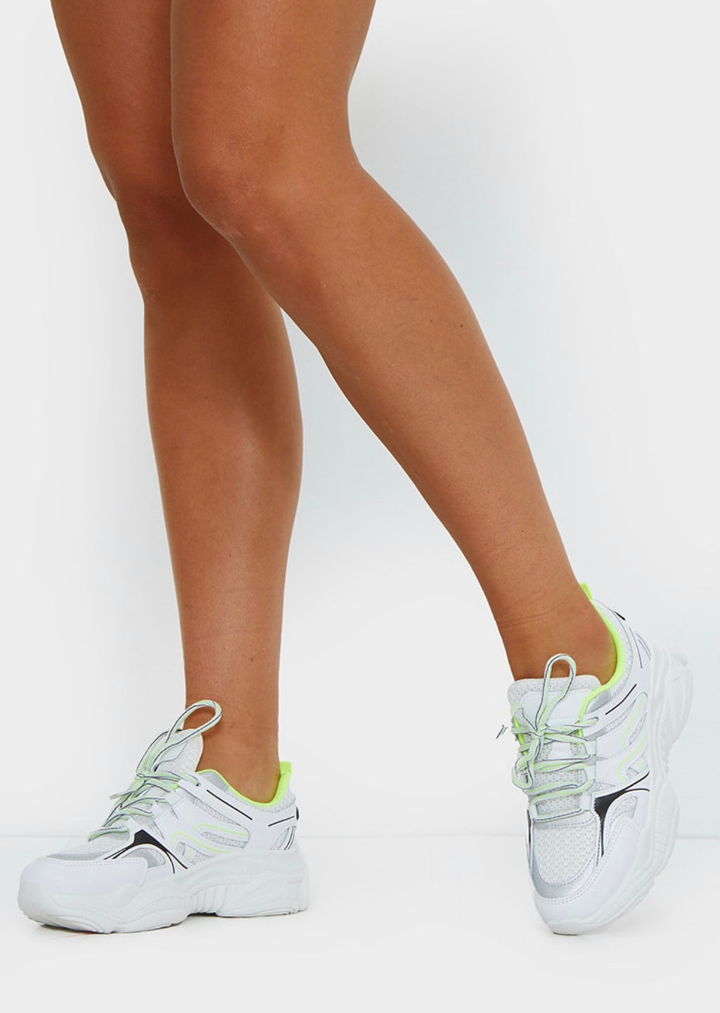 PRETTY LITTLE THING NEON LIME WHITE MESH CONTRAST TRAINERS
