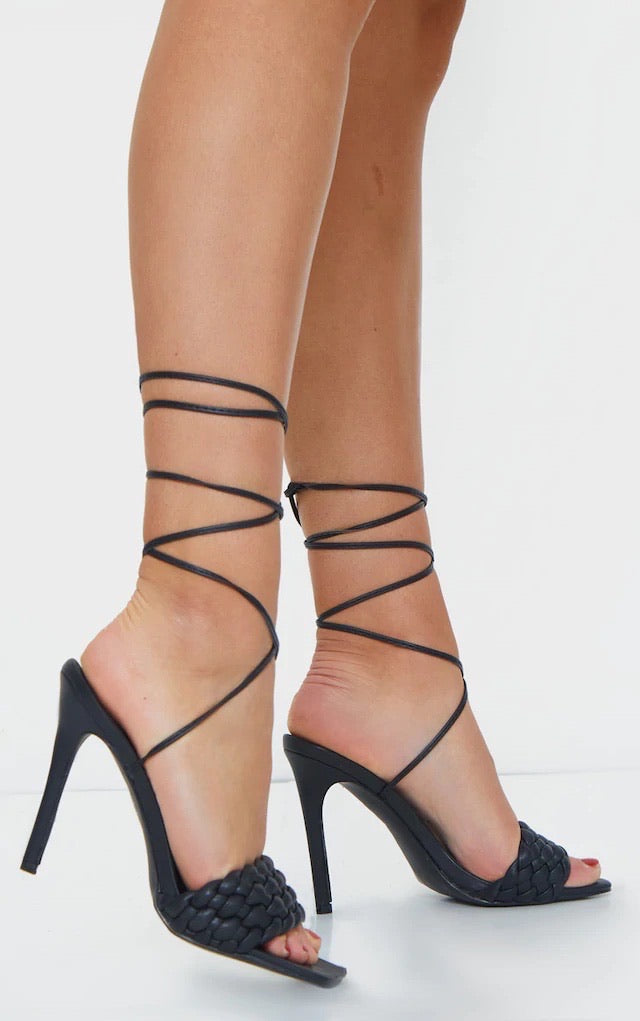 PRETTY LITTLE THING BLACK SQUARE TOE QUILTED LACE-UP HEELED SANDALS