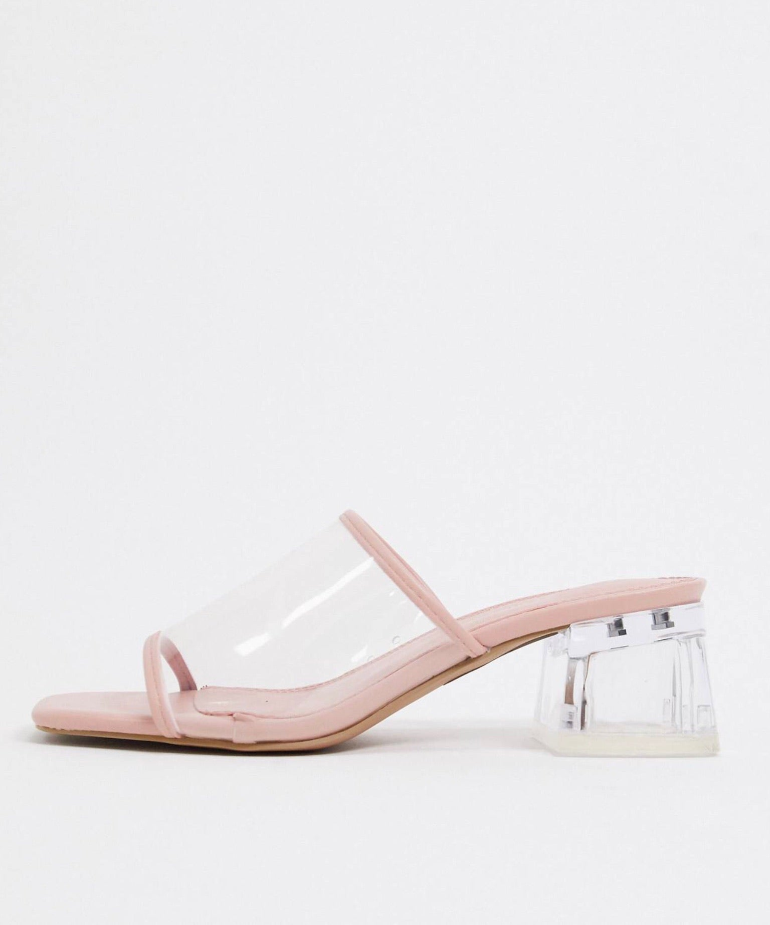 ASOS HARROGATE HEELED MULES IN WARM BEIGE AND CLEAR