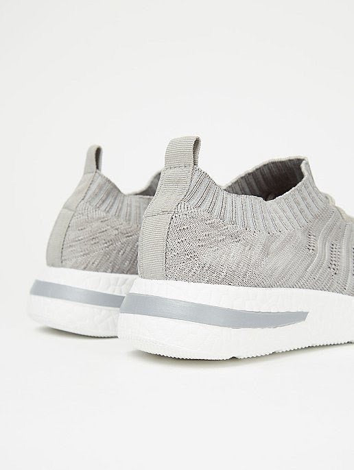 GEORGE GREY MARL WOVEN SKETCH KNITTED SPORTS TRAINERS