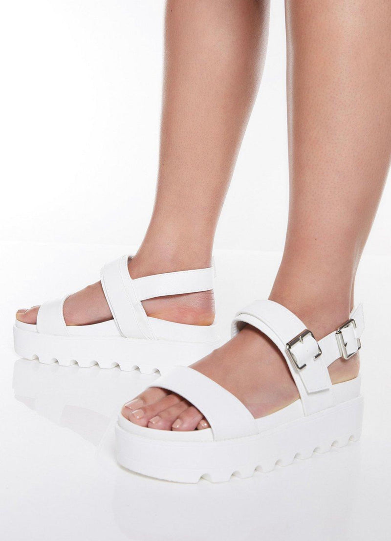 KOI FOOTWEAR WHITE BUCKLE DETAIL ANKLE STRAP FLATFORMS