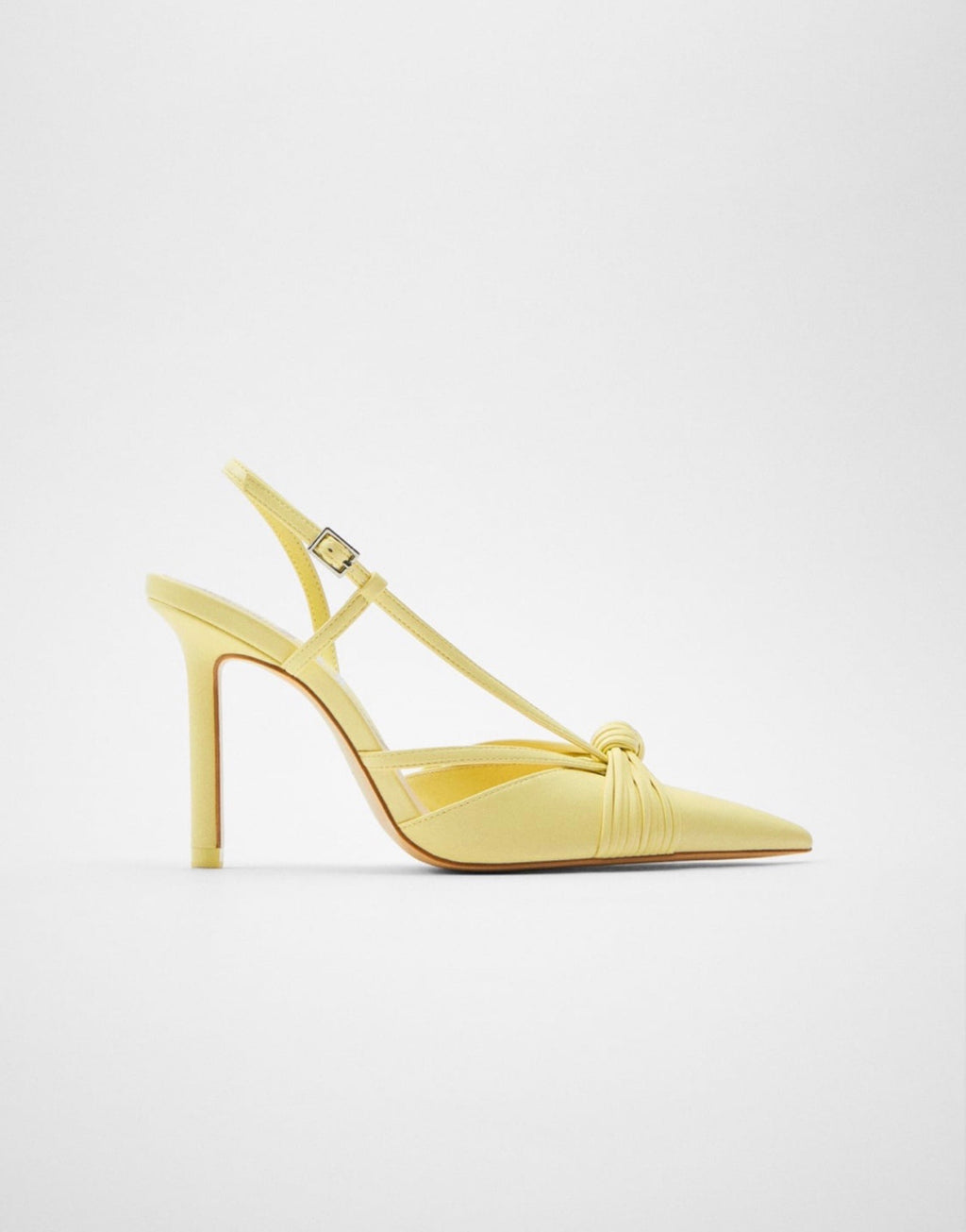 ZARA YELLOW HIGH HEEL SHOES WITH KNOTS