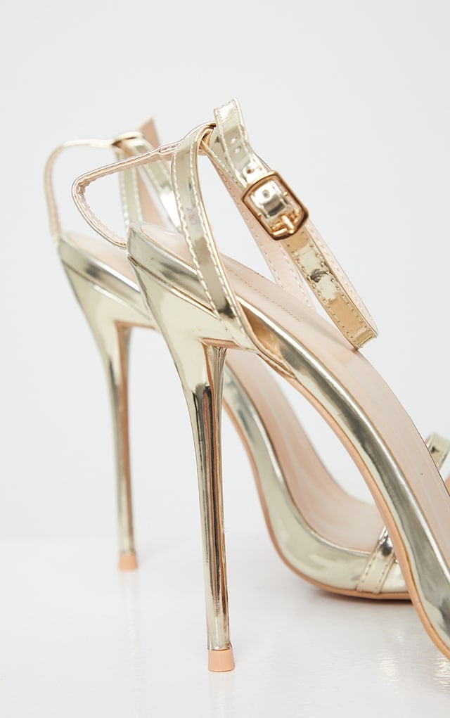 PRETTY LITTLE THING GOLD HIGH STRAPPY SANDAL