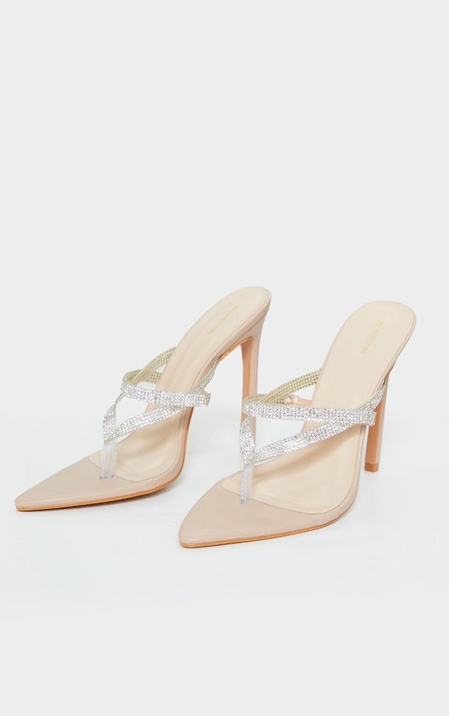 PRETTY LITTLE THING NUDE POINT TOE CLEAR DIAMANTE TOE THROUGH STRAP HEELS