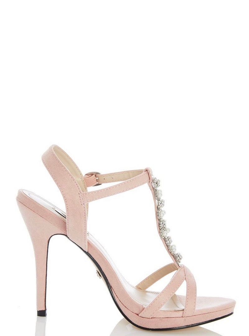 QUIZ BLUSH PINK FAUX SUEDE PEARL HEEL SANDALS