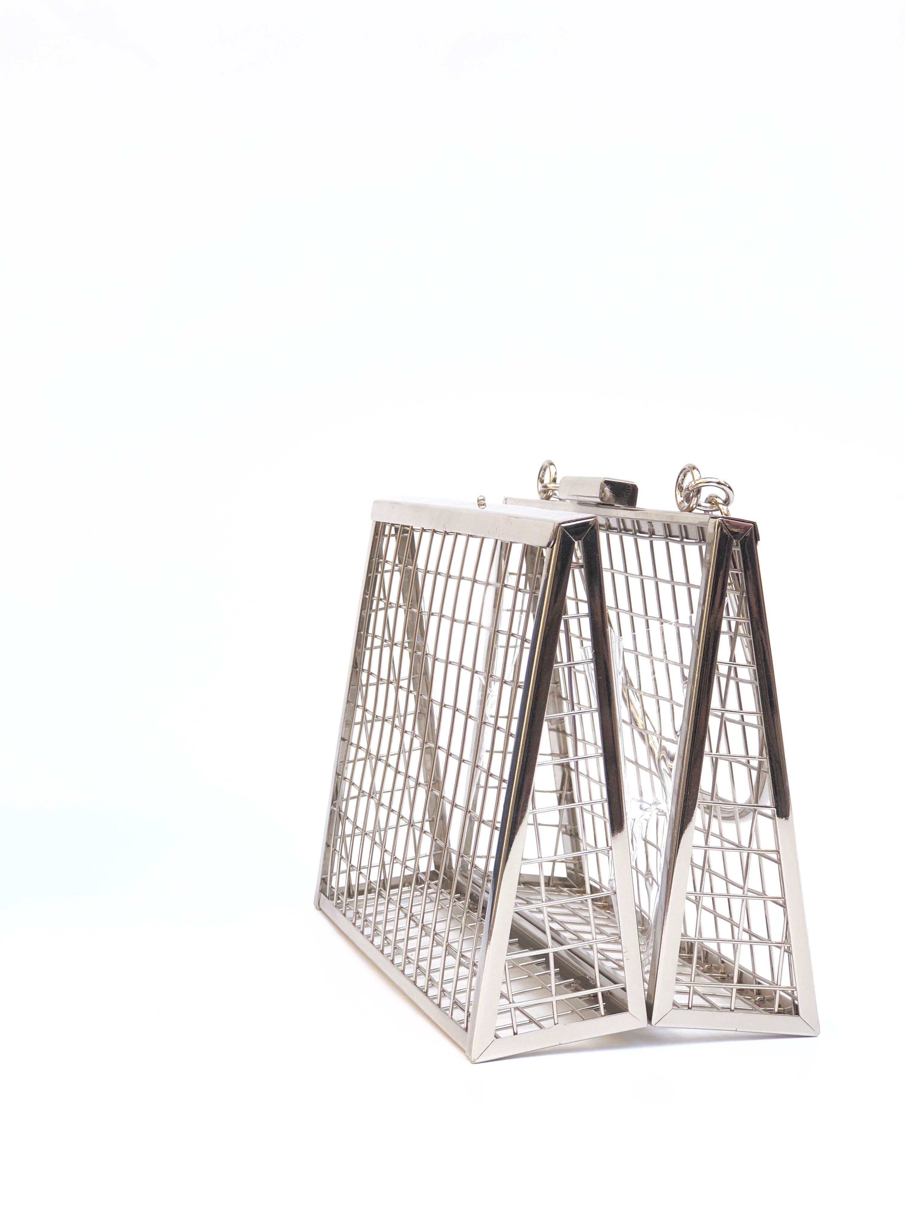 CAGE METALLIC CLUTCH BAG