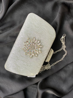 FOWLER SILVER EMBELLISHED CLUTCH PURSE