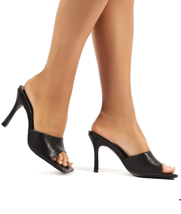 PUBLIC DESIRE HARLOW WIDE FIT BLACK HEELED MULES