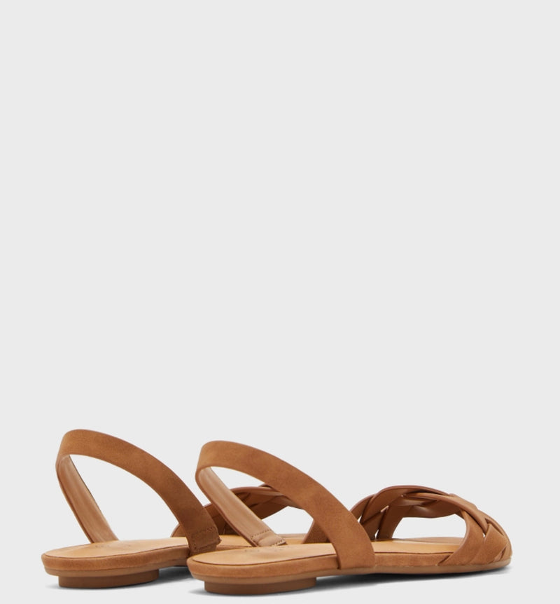 CALL IT SPRING TAN WOVEN LEATHER SLINGBACK FLATS